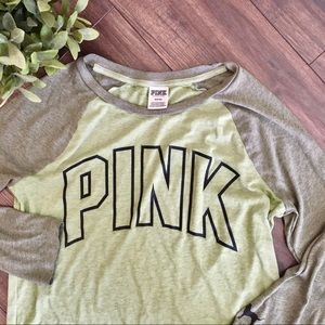 Pink Victoria's Secret Green 3/4 Sleeve Logo Top
